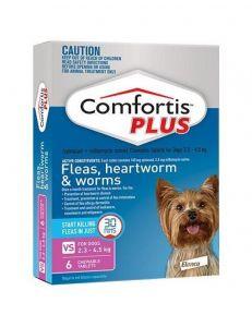 礼来恳福特增强版口服咀嚼驱虫药 适用犬用2.3-4.5公斤 Comfortis Plus for Dogs 2.3-4.5kg(5-10lbs) Pink