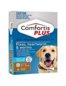 礼来恳福特增强版口服咀嚼驱虫药 适用犬用27.1-54公斤 Comfortis Plus for Dogs 27.1-54kg(59-119lbs) Brown
