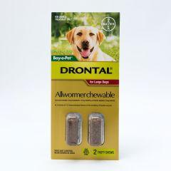 拜宠清咀嚼型驱虫片大型犬用 35kg/粒 2粒装 Drontal Allwormer Chewable for Large Dogs 22-77lbs (10-35kg)
