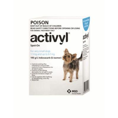 默沙东 Activyl 体外驱虫滴剂 超小型犬用 体重1.5-6.5公斤 Activyl Spot-on 100mg For Very Small Dogs 1.5-6.5 kg (4-14 lbs)