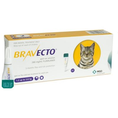 默沙东 Bravecto 外用驱虫滴剂 小猫1.2-2.8公斤体重 Bravecto 112.5mg Spot-On Solution For Small Cats 1.2-2.8kg(3-6lbs)