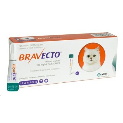 默沙东 Bravecto 外用驱虫滴剂 中猫2.8-6.25公斤体重 Bravecto 250mg Spot-On Solution For Medium Cats 2.8-6.25kg (6-14lbs)