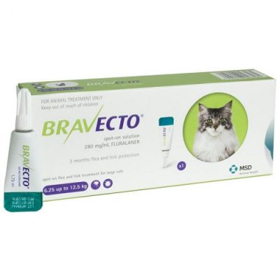 默沙东 Bravecto 外用驱虫滴剂 大猫6.25-12.5公斤体重 Bravecto 500mg Spot-On Solution For Large Cats 6.25-12.5kg (13.8-27.5lbs)