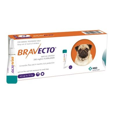 Bravecto Spot-On 250mg for small dogs >4.510 kg (9-22 lbs)