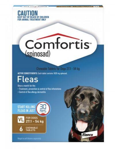 礼来恳福特口服咀嚼驱虫药 适用犬用27-54公斤 6粒装 Comfortis For Dogs Brown 27 - 54Kg