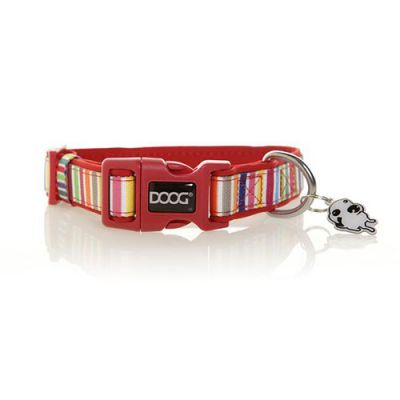 Doog Neoprene Dog Collar, Small (Scooby - Multi Colour Stripped)