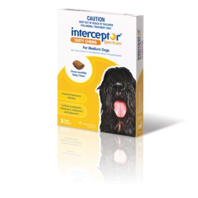 诺华Interceptor Spectrum驱虫药中型犬11-22公斤体重3粒装 Interceptor Spectrum For Medium Dogs 11-22 kg (24-48 lbs), 3 Tasty Chews