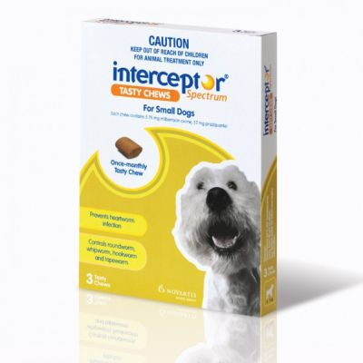诺华Interceptor Spectrum驱虫药 小型犬4-11公斤体重3粒装 Interceptor Spectrum For Small Dogs 4-11 kg (8.8-24 lbs), 3 Tasty Chews