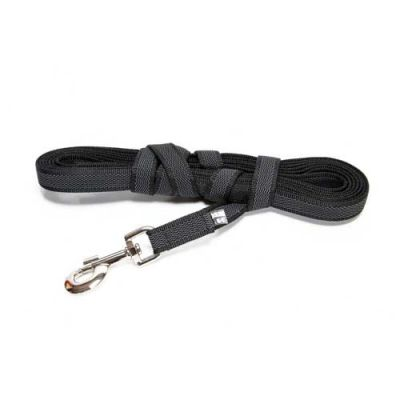 Julius-K9 Color & Grey Super-Grip Leash Black-Grey Width (1/2