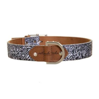 Outback Tails Leather Dog Collar (Mina Mina - Black And white ) Small