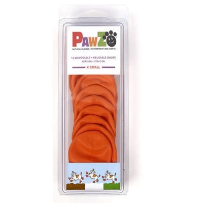 Pawz Disposable Rubber Dog Boots X-Small Orange