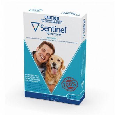 诺华Sentinel Spectrum驱虫药预防心丝虫控制跳蚤驱杀肠道寄生虫大型犬用22-45公斤3粒装 Sentinel Spectrum  for Large Dogs 50-100lbs(22-45kg), 3 Pack