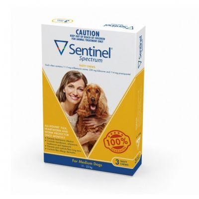 诺华Sentinel Spectrum驱虫药预防心丝虫控制跳蚤驱杀肠道寄生虫中型犬用22-45公斤3粒装 Sentinel Spectrum  for Medium Dogs 25-50lbs(11-22kg), 3 Pack