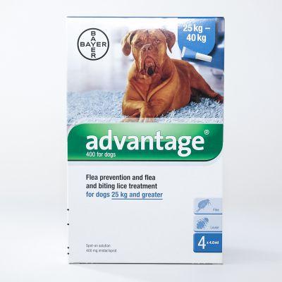 拜耳 蚤安超大型体外驱虫滴剂适用体重25-40公斤 4支装 Advantage 400 (Blue) Spot on For X-Large Dogs 25-40kg (over 55lbs), 4 Pack