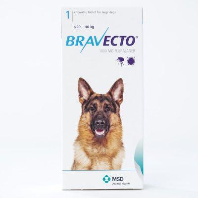 默沙东 Bravecto 口服驱跳蚤蜱虫药 大型犬体重20-40公斤 Bravecto 1000mg for Large Dogs 20-40kg (44-88lbs)