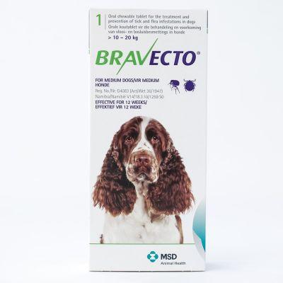 默沙东 Bravecto 口服驱跳蚤蜱虫药 中型犬体重10-20公斤 Bravecto 500mg for Medium Dogs 10-20kg (22lbs-44lbs)