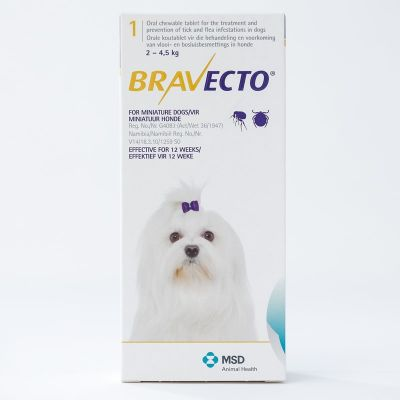 默沙东 Bravecto 口服驱跳蚤蜱虫药 超小型犬体重2-4公斤 Bravecto 112mg  For Very Small Dogs 2-4kg (4.4-8.8lbs)