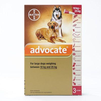 爱沃克犬用体外驱虫滴剂 适用体重10-25公斤犬用 3支装 Advocate for Large Dogs 10-25kg (22-55lbs), 3 Pack