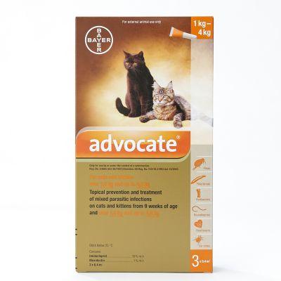 爱沃克猫体外驱虫滴剂 小于4公斤体重适用 3支装 Advocate For Small Cats under 4Kg (8.8lbs), 3 Pack