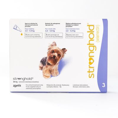 欧版辉瑞大宠爱 适用体重2.6-5kg公斤犬用 3支装 Stronghold for Dogs 2.6-5kg (5-10lbs) Violet, 3 Pack